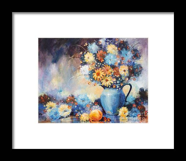 Blue Framed Print featuring the painting Grandmas Blue Pitcher by JoAnne Corpany
