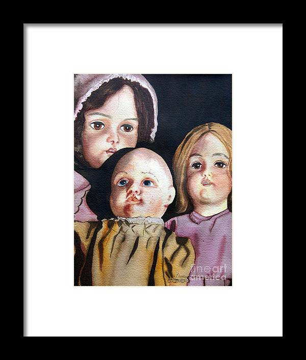 Old Dolls Framed Print featuring the painting Grandma's Dolls by Gail Zavala