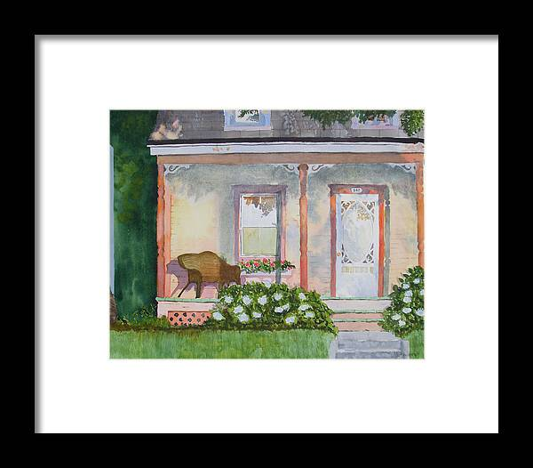 House Framed Print featuring the painting Grandma's Front Porch by Ally Benbrook