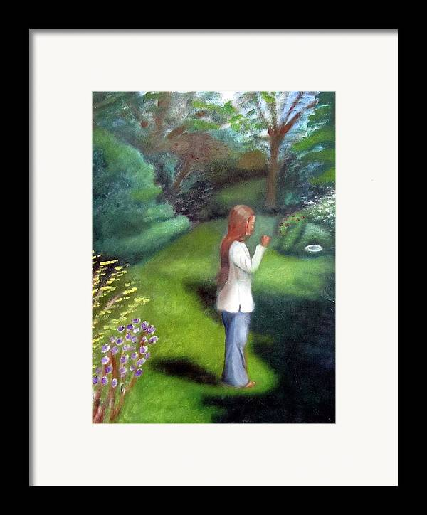 Portrait Framed Print featuring the painting Grandmas Garden by Alima Newton