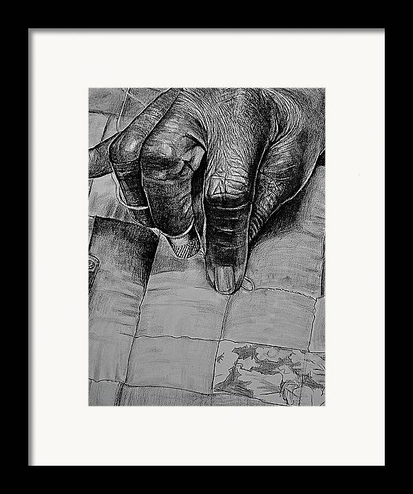 Hands Framed Print featuring the drawing Grandma's Hands by Curtis James