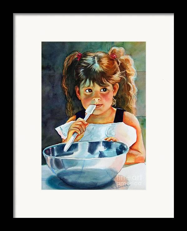Child Framed Print featuring the painting Grandma's Helper by Gail Zavala