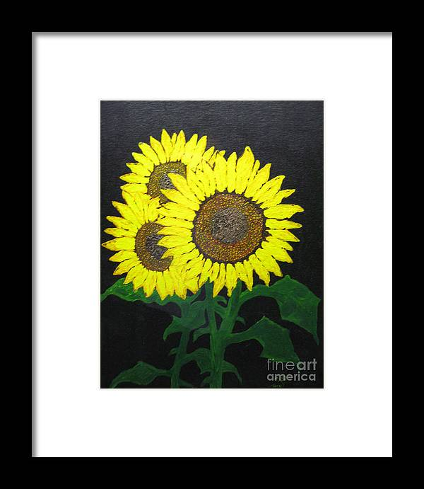 Sunflowers Framed Print featuring the painting Grandmas Sunflowers by Todd Androy