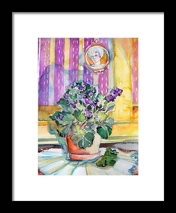 Violets Framed Print featuring the painting Grandmas' Violets by Mindy Newman