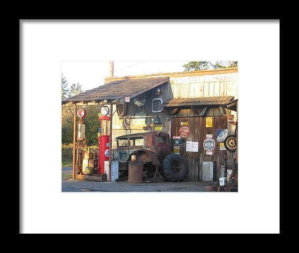 Framed Print featuring the digital art Grandpa's Garage by Barb Morton