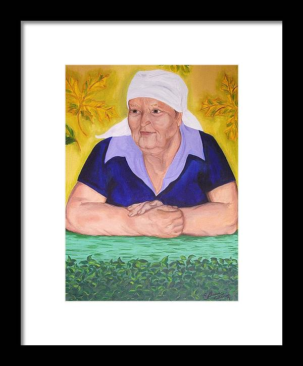 Art Framed Print featuring the painting Granny Katiya by Svetlana Vinokurtsev