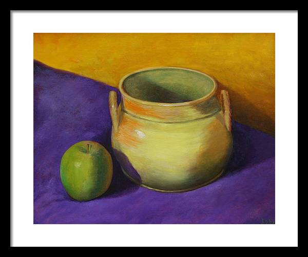 Still Life Framed Print featuring the painting Granny Smith And The Yellow Pot by RF Hauver