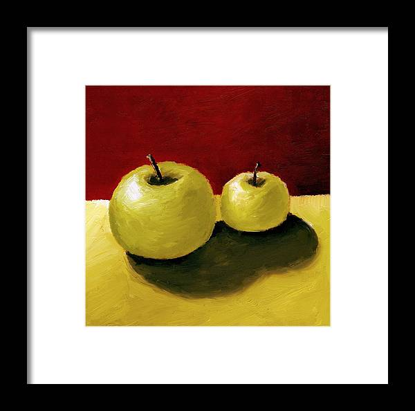 Apple Framed Print featuring the painting Granny Smith Apples by Michelle Calkins