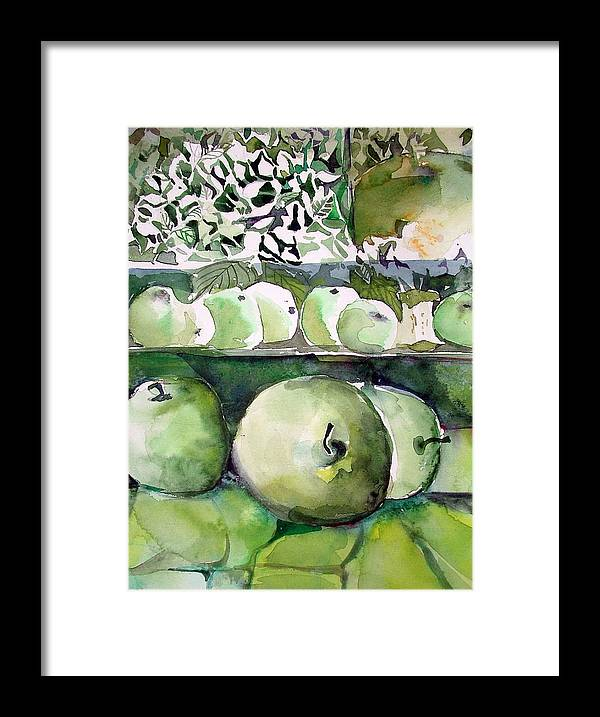 Apple Framed Print featuring the painting Granny Smith Apples by Mindy Newman