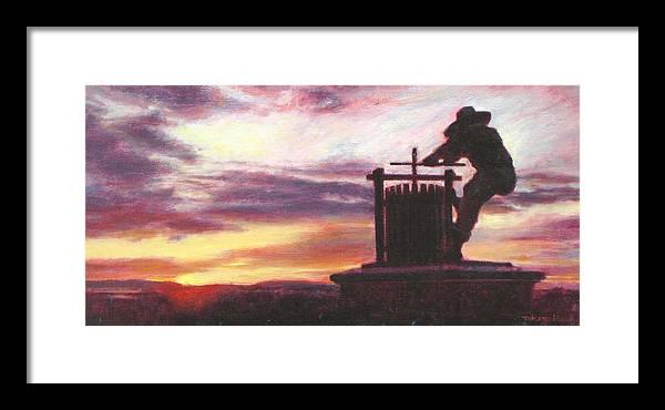 Wine Painting Framed Print featuring the painting Grape Crusher Napa Valley Sunset by Takayuki Harada