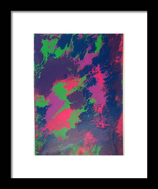 Framed Print featuring the painting Grapefizz And Tanzanite by Qiuna Jiang