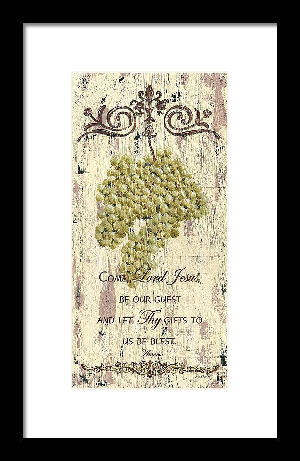 Grapes Framed Print featuring the painting Grapes and Grace 1 by Debbie DeWitt