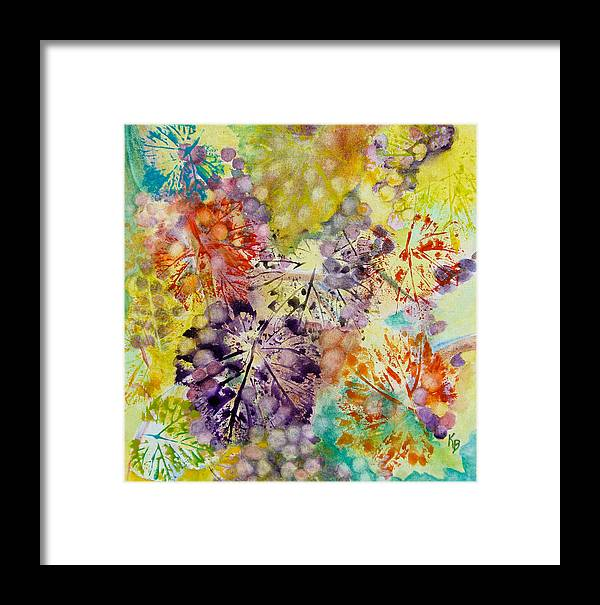 Grapes Framed Print featuring the painting Grapes And Leaves I by Karen Fleschler