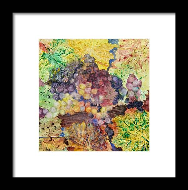Grapes Framed Print featuring the painting Grapes And Leaves II by Karen Fleschler