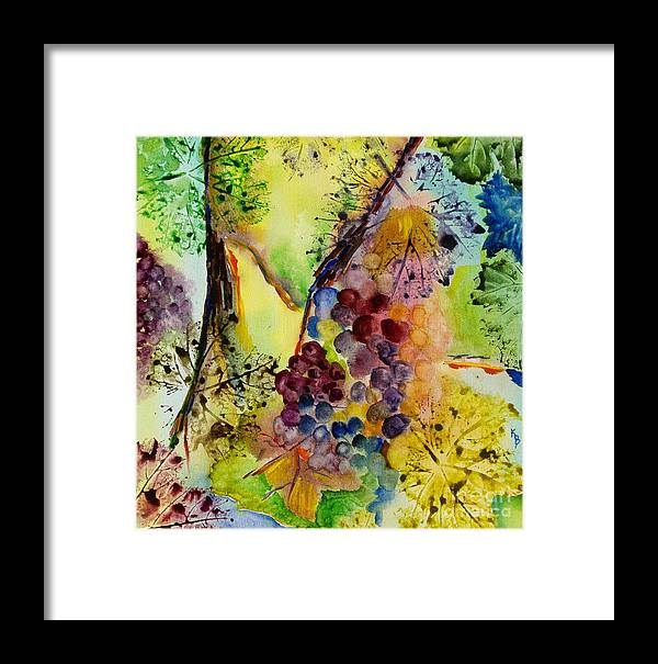 Watercolor Framed Print featuring the painting Grapes And Leaves IIi by Karen Fleschler