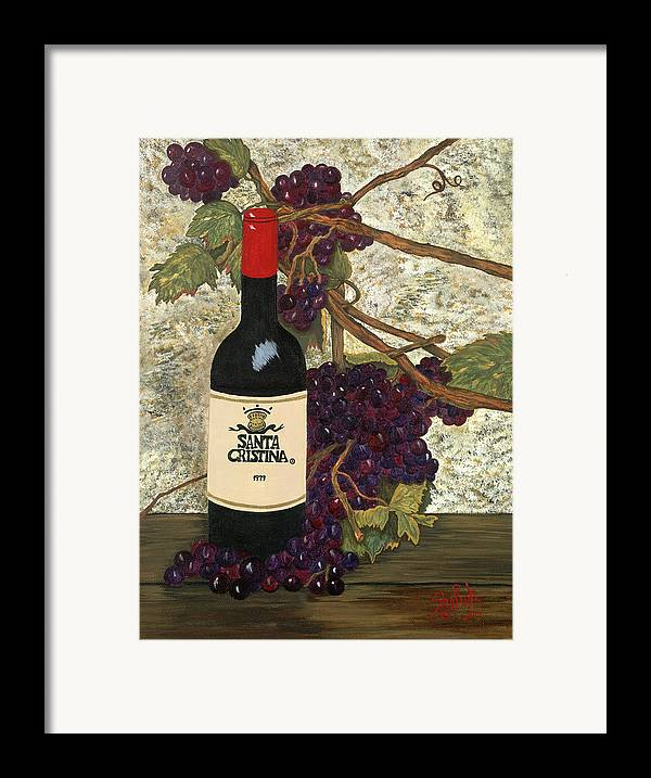 Still Life Framed Print featuring the painting Grapes And Wine by SheRok Williams