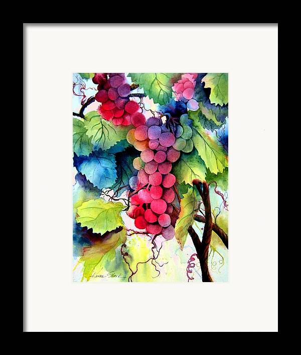 Grapes Framed Print featuring the painting Grapes by Karen Stark