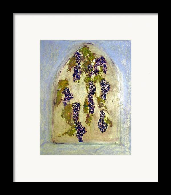 Grapes Framed Print featuring the painting Grapes Through The Old Abbey Window by Michela Akers