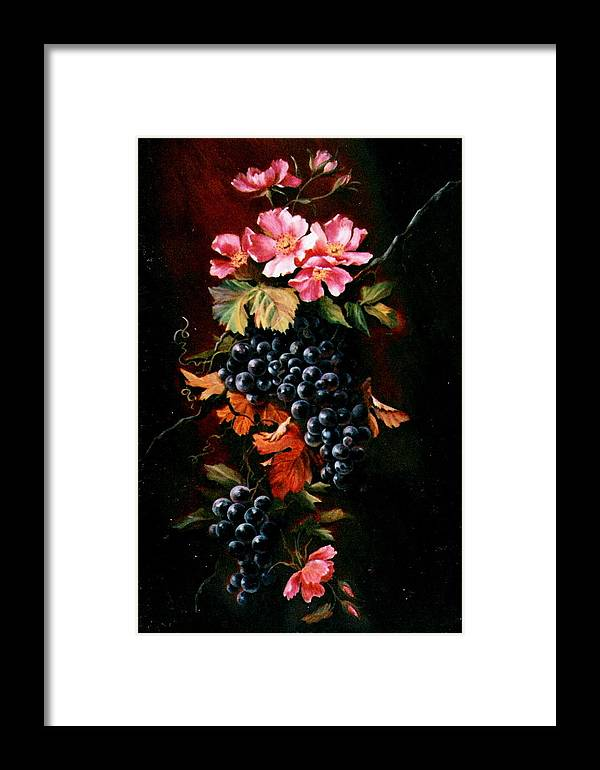 Flowers Framed Print featuring the painting Grapes With Wild Roses by Patricia Rachidi