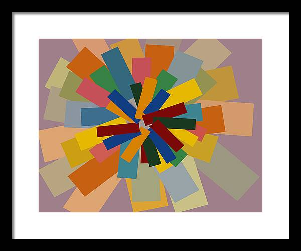 Modern Artwork Digitally Enhanced Canvas Prints Graphic Bright Colors Purple Gold Orange Brilliant Striking Block Shapes Framed Print featuring the painting Graphic Blocks Of Color Blue Green Yellow by Beverly Trivane