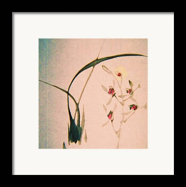 Asian Ink Brush Framed Print featuring the painting Grass And Buds by JuneFelicia Bennett
