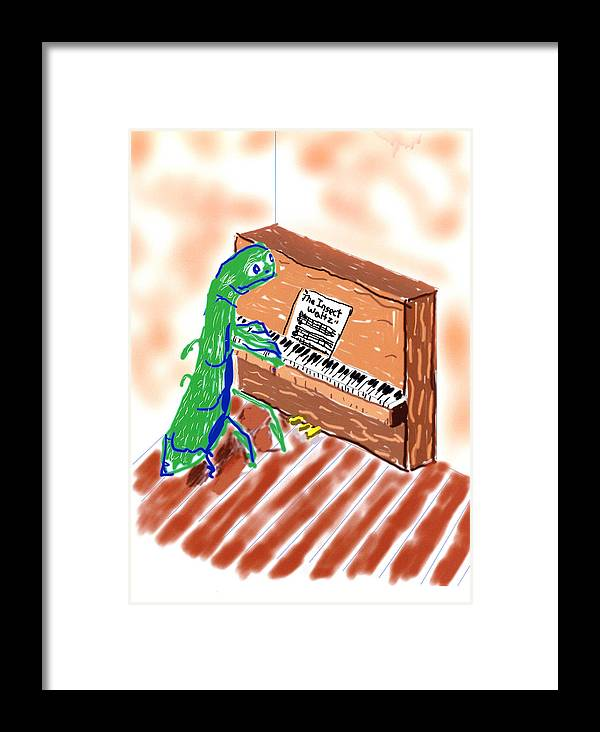 Grasshoppers Framed Print featuring the digital art Grasshoppers Don't Play Piano by Rob Keay