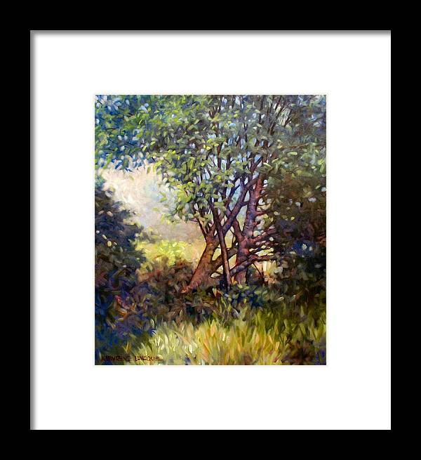Landscape Framed Print featuring the painting Grateful Mulberry by Kevin Lawrence Leveque