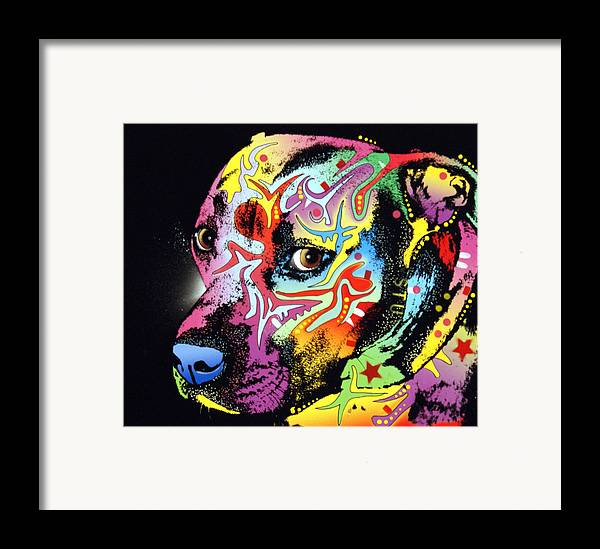 Dog Framed Print featuring the painting Gratitude Pit Bull Warrior by Dean Russo