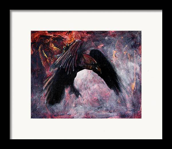 Raven Framed Print featuring the painting Grave And Stern Decorum by Sandy Applegate