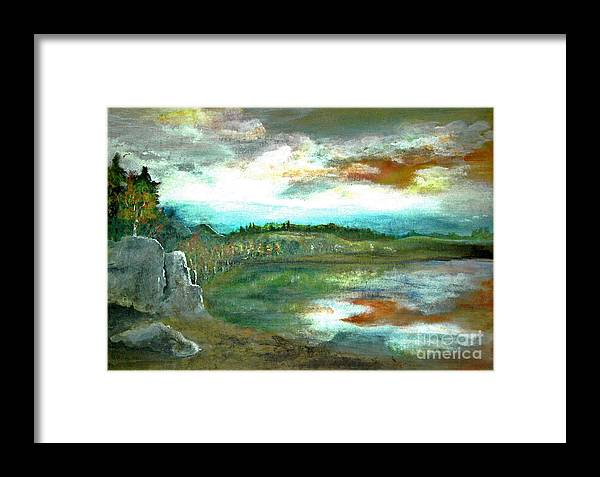 Landscape Framed Print featuring the painting Gravel Pit Overgrown by Vivian Mosley