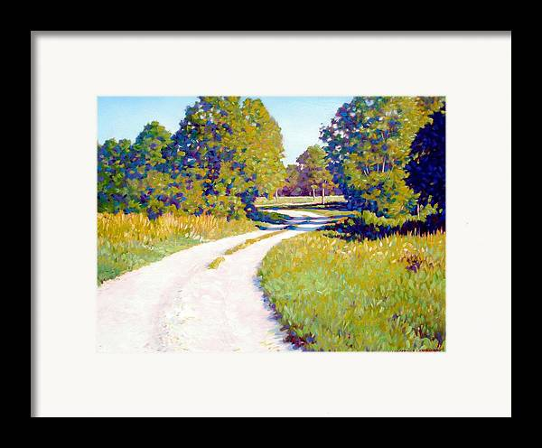 Landscape Framed Print featuring the painting Gravel Road by Kevin Lawrence Leveque