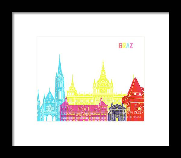 Graz Framed Print featuring the painting Graz Skyline Pop by Pablo Romero