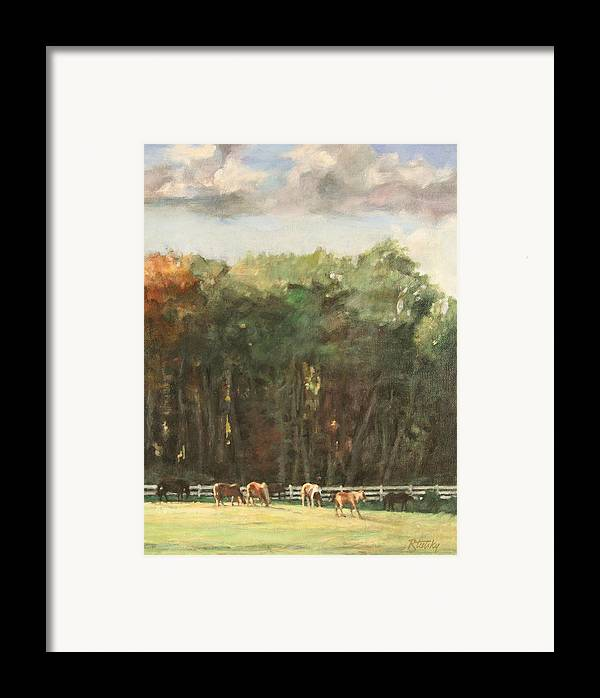 Horse Framed Print featuring the painting Grazing Horses by Robert Tutsky