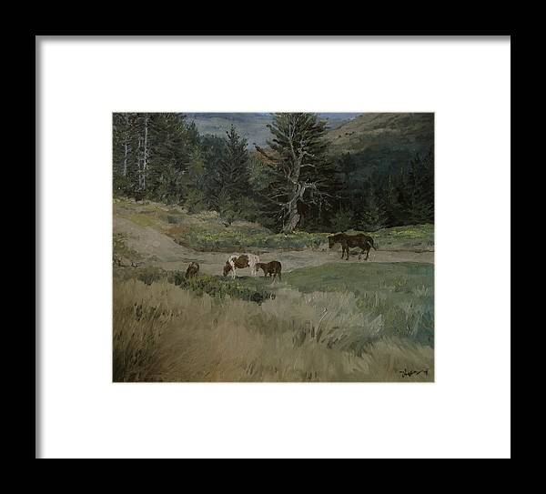 Landscape Framed Print featuring the painting Grazing by Richard Ong