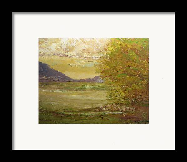 Landscape Framed Print featuring the painting Grazing Sheep New Mexico Usa by Belinda Consten