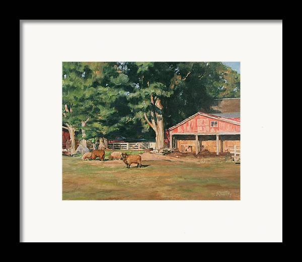Sheep Framed Print featuring the painting Grazing Sheep by Robert Tutsky