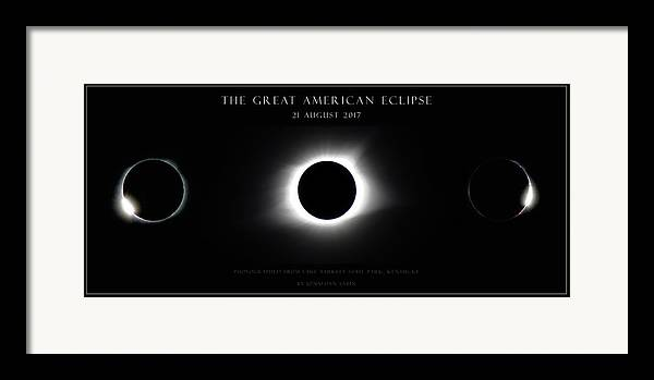 Great American Eclipse Framed Print featuring the photograph Great American Eclipse - Triptych by Jonathan Sabin