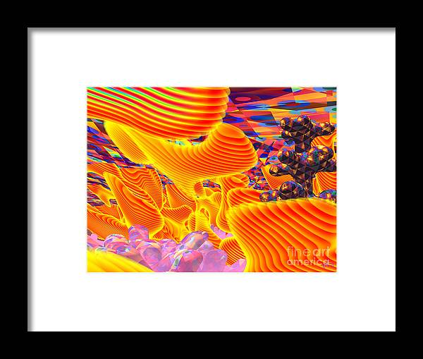 Psycho-delic; Digital Art; Surrealism; Abstract Framed Print featuring the digital art Great Art 3a by Terry Anderson