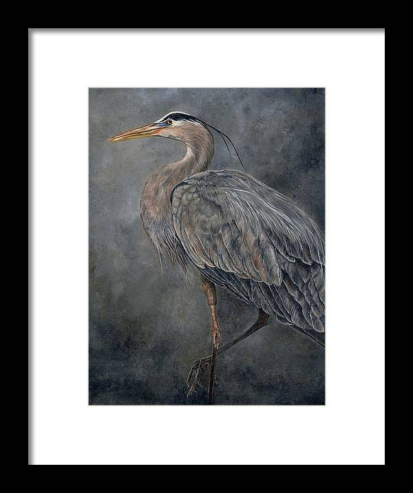 Great Blue Heron Framed Print featuring the painting Great Blue Heron by Edmund Price