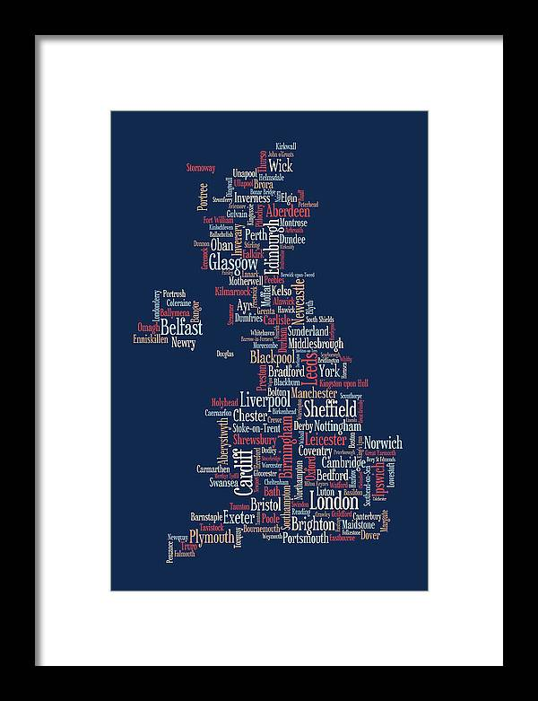 United Kingdom Framed Print featuring the digital art Great Britain Uk City Text Map by Michael Tompsett