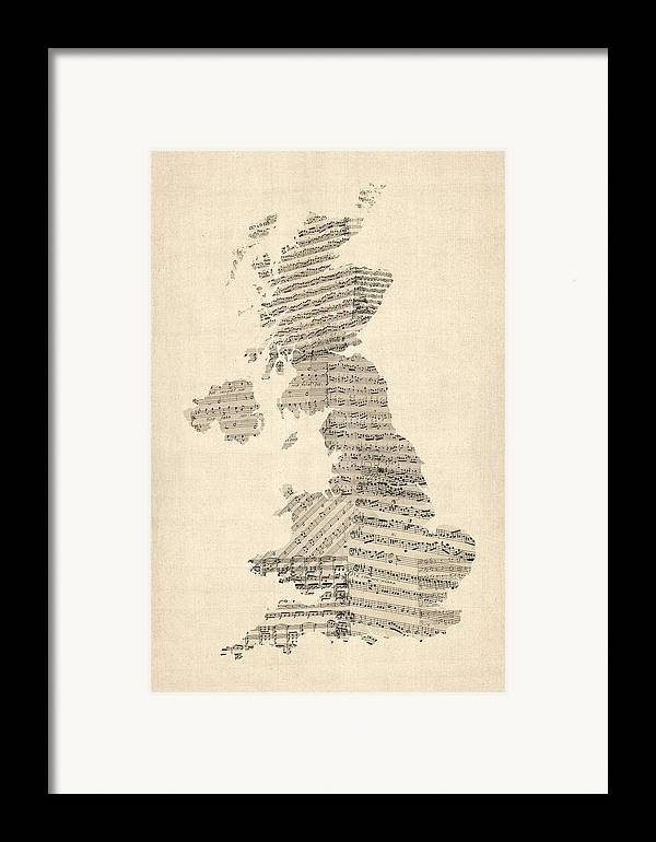 United Kingdom Map Framed Print featuring the digital art Great Britain Uk Old Sheet Music Map by Michael Tompsett
