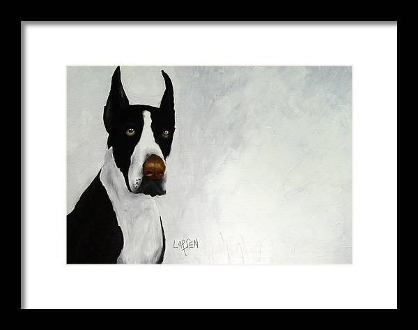 Framed Print featuring the painting Great Dane by Dick Larsen