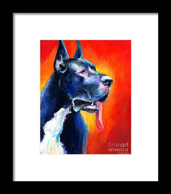 Black Great Dane Framed Print featuring the painting Great Dane Dog Portrait by Svetlana Novikova