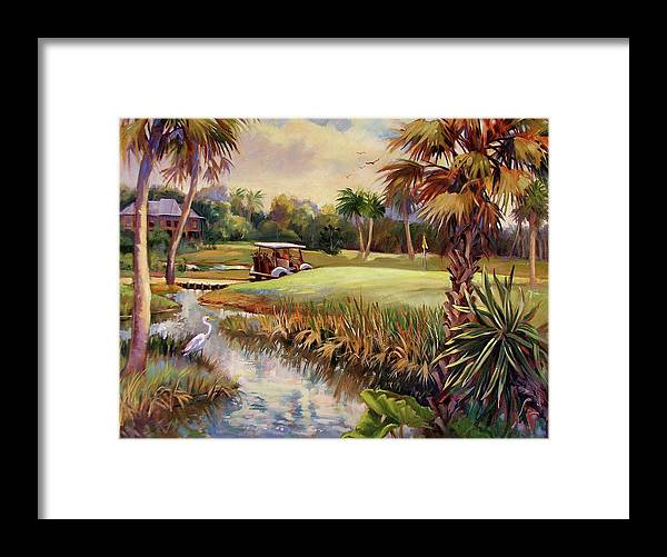 Landscape Framed Print featuring the painting Great Day For Golf by Dianna Willman