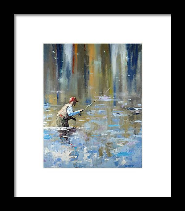 Flyfishing Framed Print featuring the painting Great Expectations by Glenn Secrest