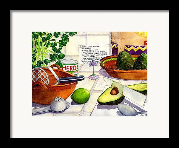 Guacamole Framed Print featuring the painting Great Guac. by Catherine G McElroy