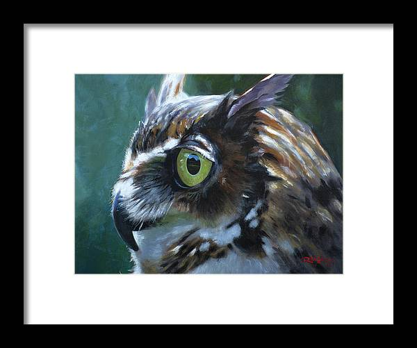 Acrylic Framed Print featuring the painting Great Horned Owl by Christopher Reid