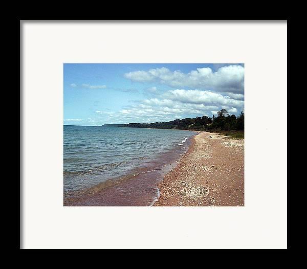 Stoney Beach Framed Print featuring the photograph Great Lakes Beach by Jennifer Englehardt