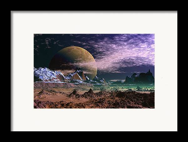 David Jackson Great Moona Alien Landscape Planets Scifi Framed Print featuring the digital art Great Moona. by David Jackson