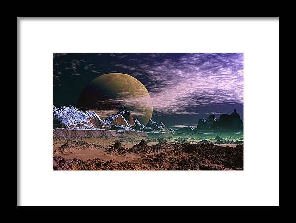David Jackson Great Moona Alien Landscape Planets Scifi Framed Print featuring the digital art Great Moona. by David Jackson